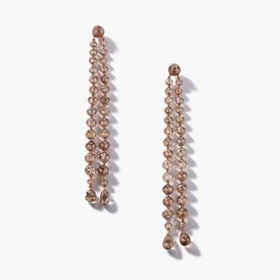 Brown Diamond Bead Duster Earrings