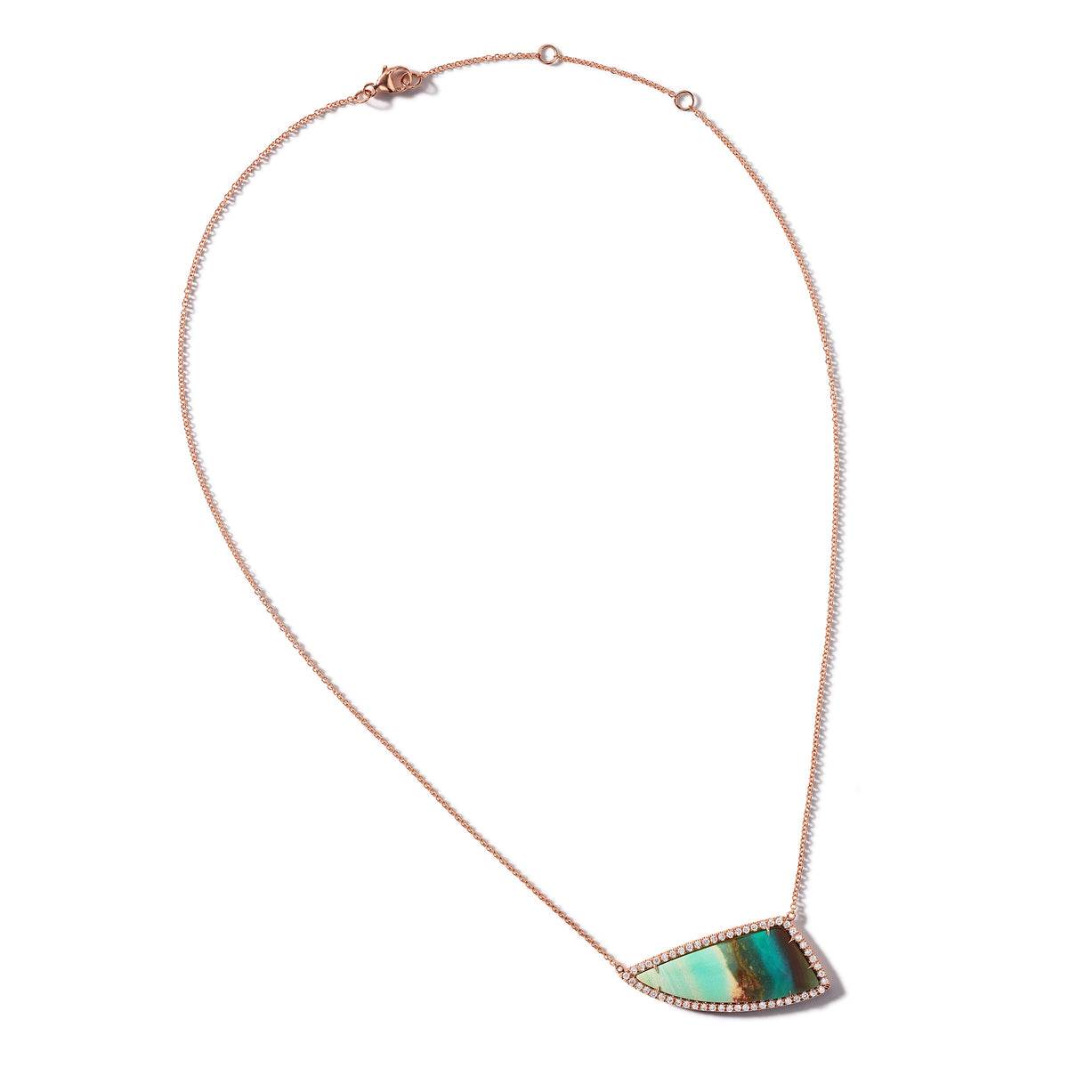 Tree Opal and Pave Diamond Necklace