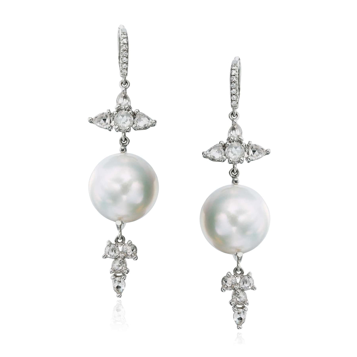 Baroque Pearl and Diamond Earrings