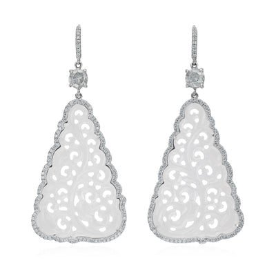 White Jade and Icy Diamond Earrings