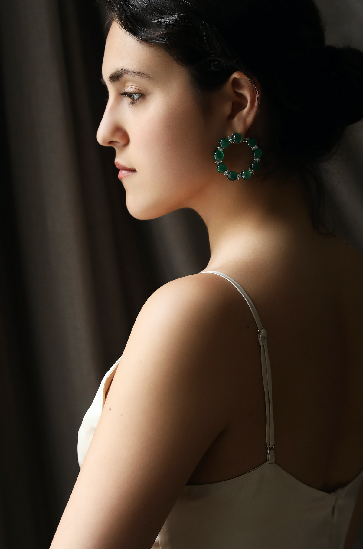 Emerald Cabochon and Marquise Diamond Hoop