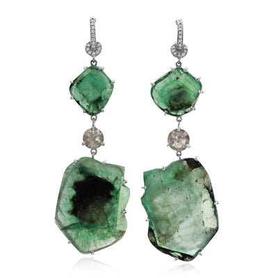 Slice Emerald and Rough Diamond Earrings