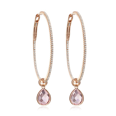 Medium Pink Topaz and Diamond Flip Hoops