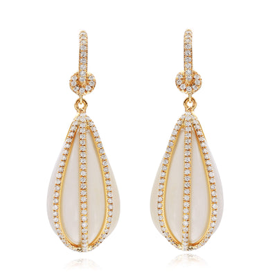 Fluted White Agate and Diamond Earrings