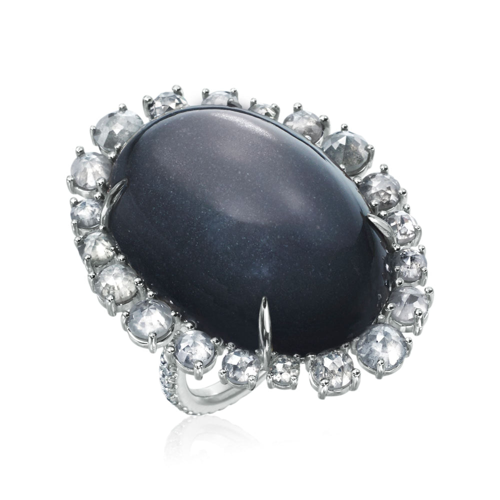 Grey Moonstone and Diamond Ring