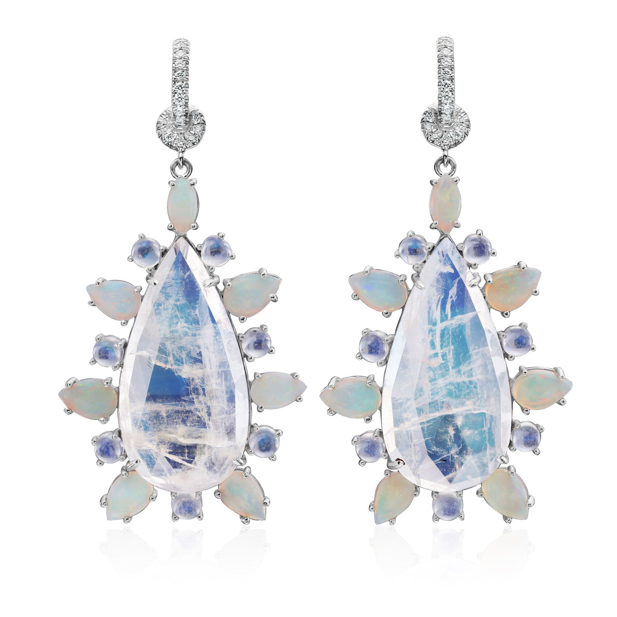Moonstone, Opal and Diamond Earrings