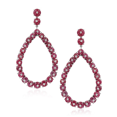 Ruby and Diamond Frontal Hoop Earring