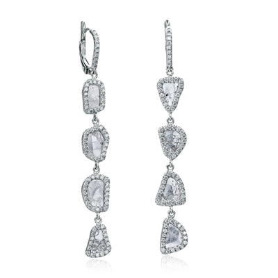 Four Tier Slice Diamond and Diamond Earrings