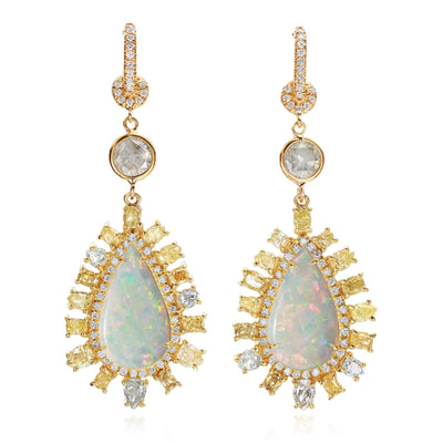 White Crystal Opal and Diamond Earrings