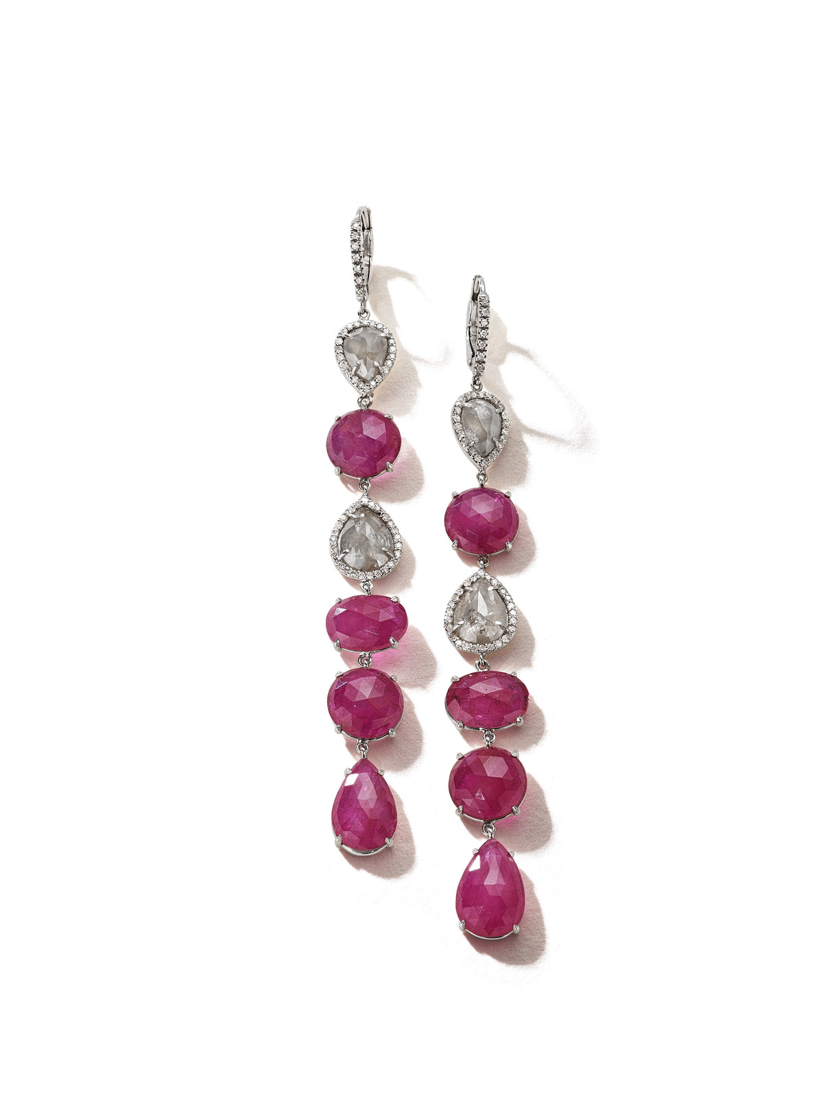 Ruby and Rough Diamond Line Earrings