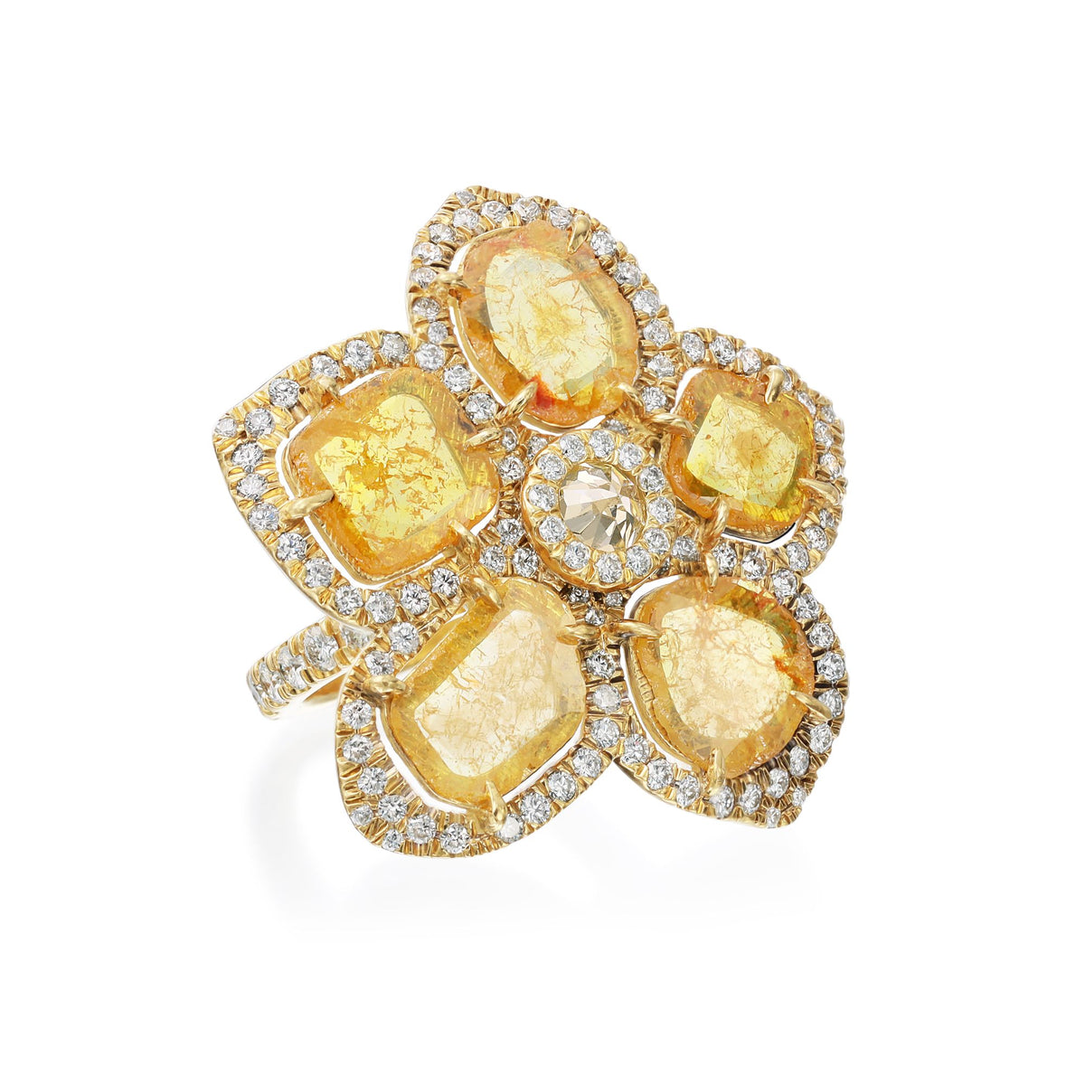 Yellow Slice Diamond Flower Ring