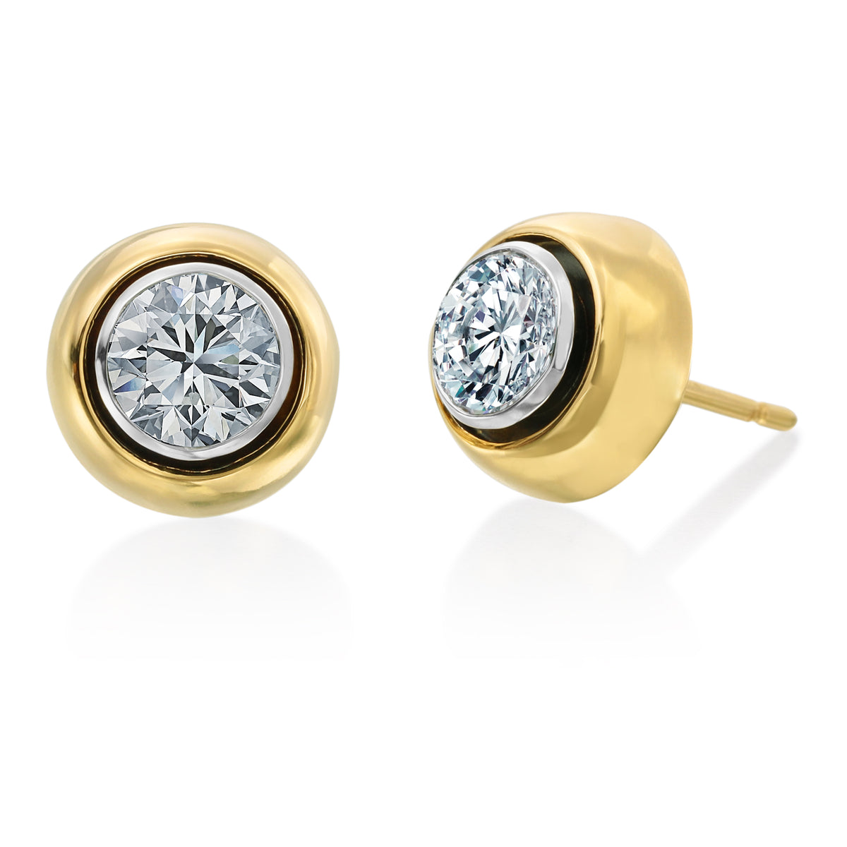 All That Is Round Brilliant Cut Diamond Stud Earrings