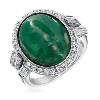 Emerald Cabochon Cocktail Ring