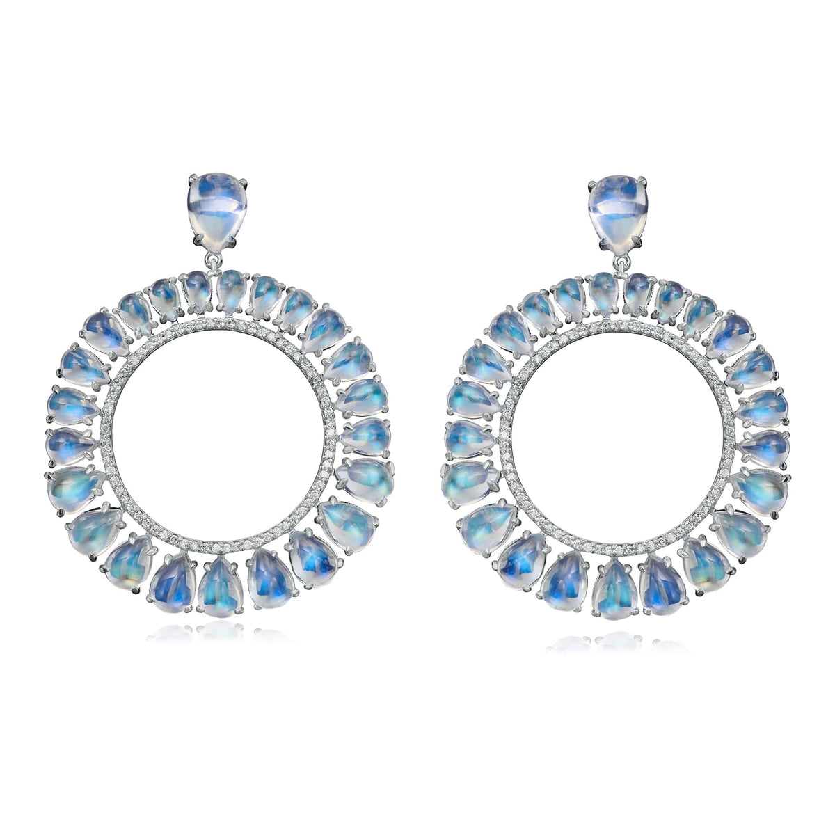 Clair de Lune Moonstone Frontal Hoops - Nina Runsdorf