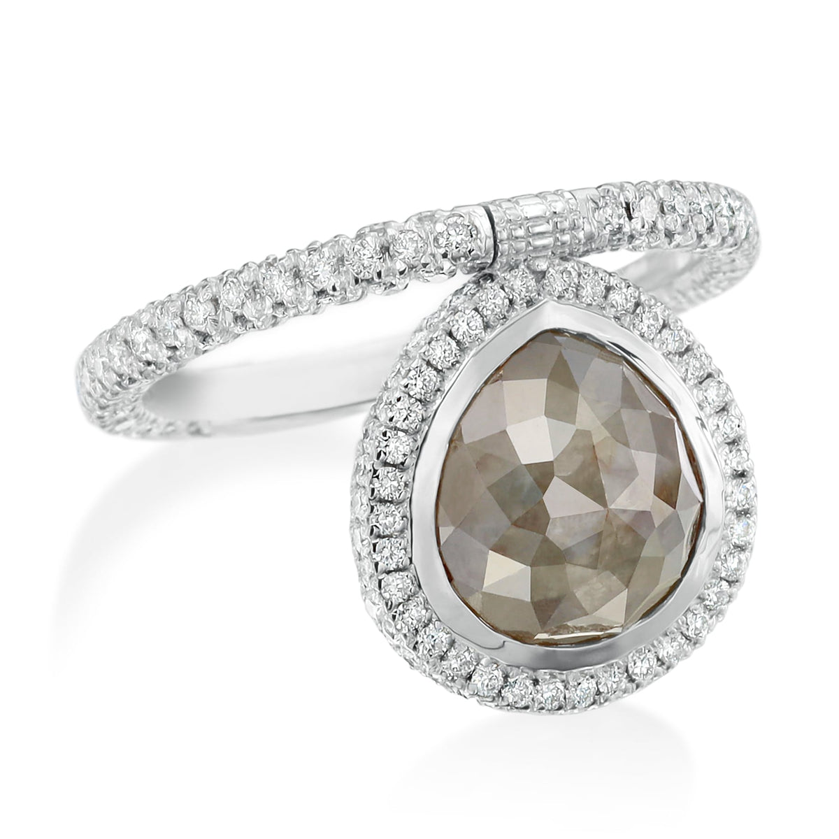 Medium Organic Gray Diamond Flip Ring with Pave Diamonds