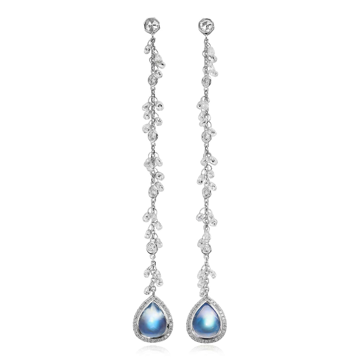 Clair de Lune Moonstone Chain Earrings - Nina Runsdorf