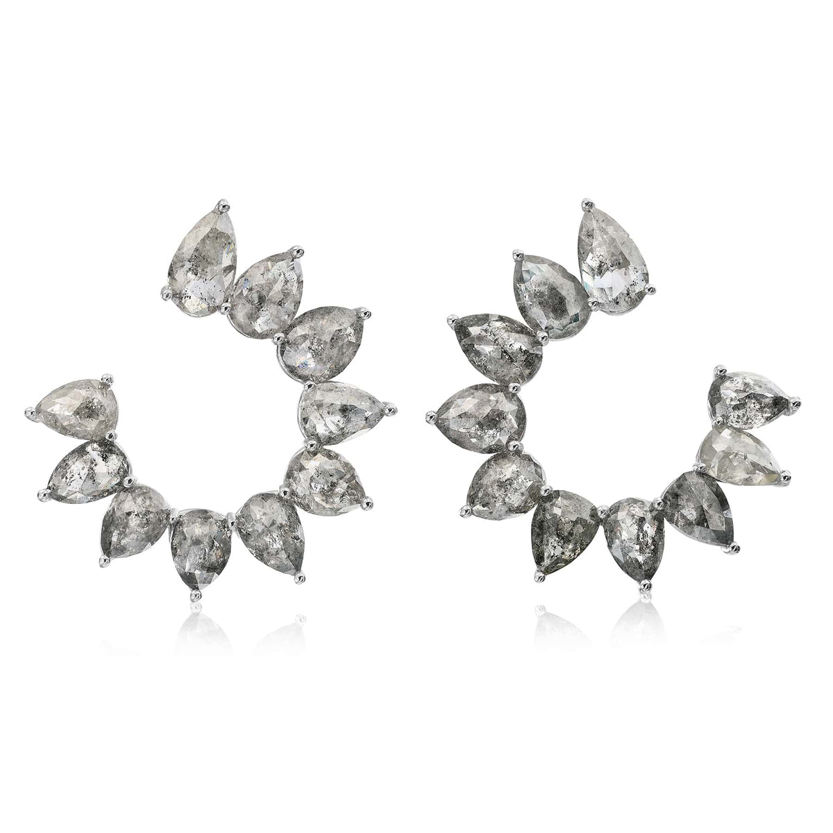 Organic Gray Diamond 'C' Shape Earrings