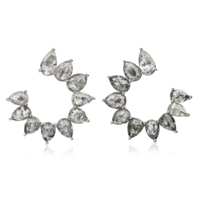 Organic Gray Diamond 'C' Shape Earrings - Nina Runsdorf