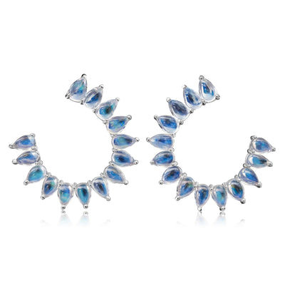 Clair de Lune Moonstone 'C' Shape Earrings - Nina Runsdorf