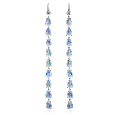 Clair de Lune Moonstone Shoulder Duster Earrings - Nina Runsdorf