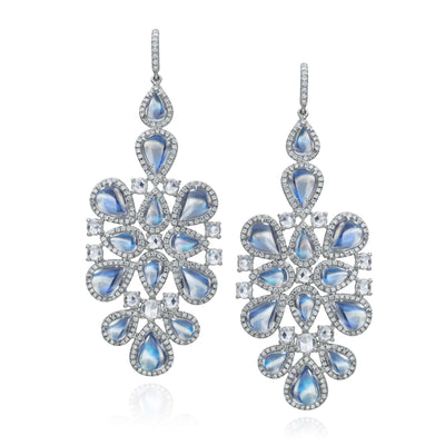 Clair de Lune Moonstone Chandelier Earrings
