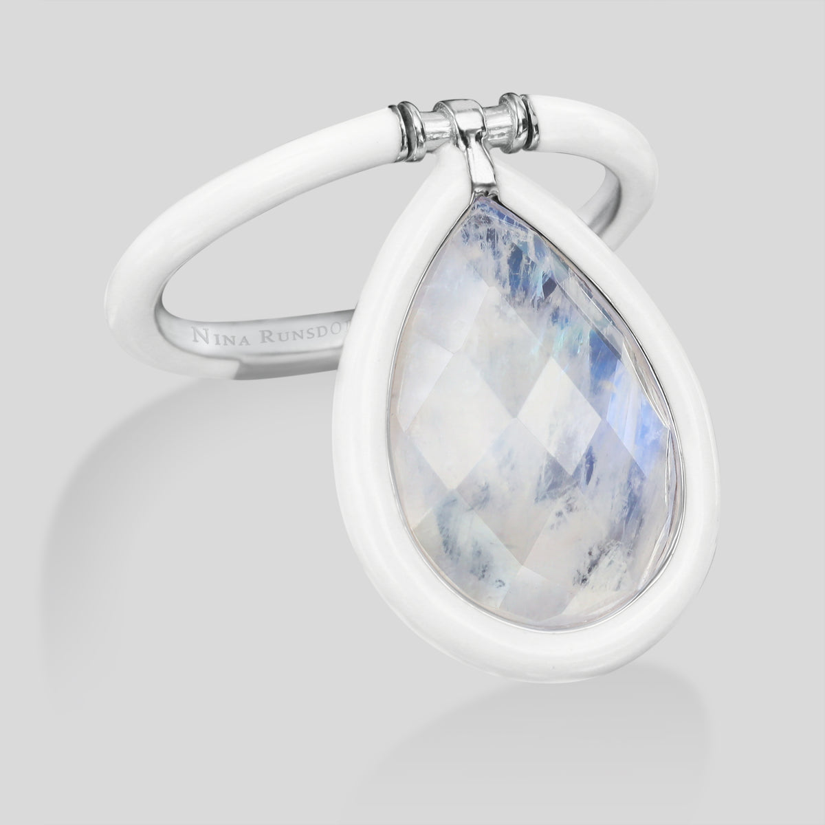 The Artist Large Moonstone White Enamel Flip Ring