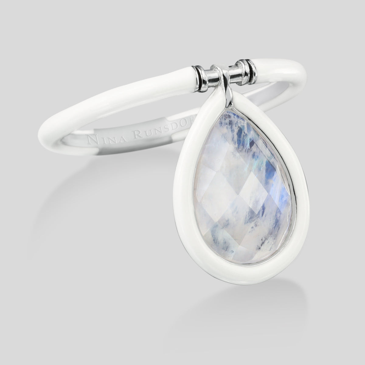 The Artist Medium Moonstone White Enamel Flip Ring - Nina Runsdorf