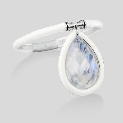 The Artist Medium Moonstone White Enamel Flip Ring