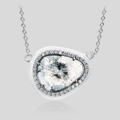 The Phoenix White Enamel Slice Diamond Pendant
