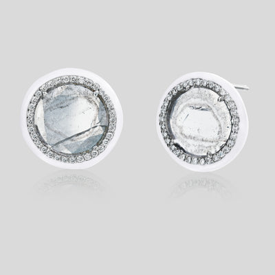 The Phoenix White Enamel Slice Diamond Stud Earrings - Nina Runsdorf