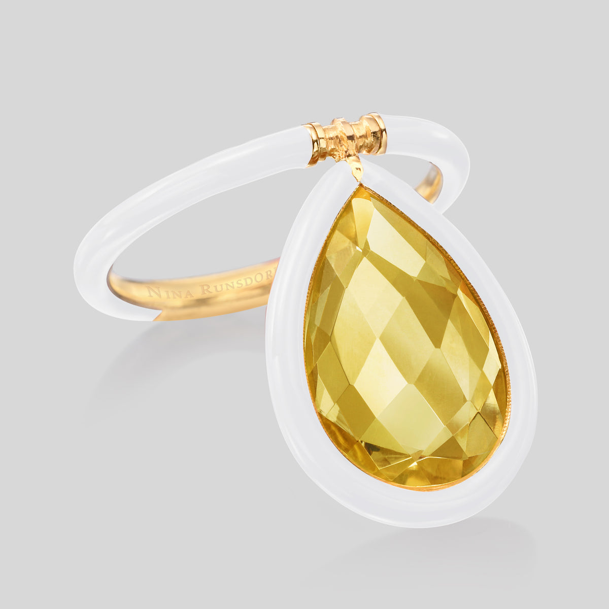 The Artist Large Citrine White Enamel Flip Ring - Nina Runsdorf