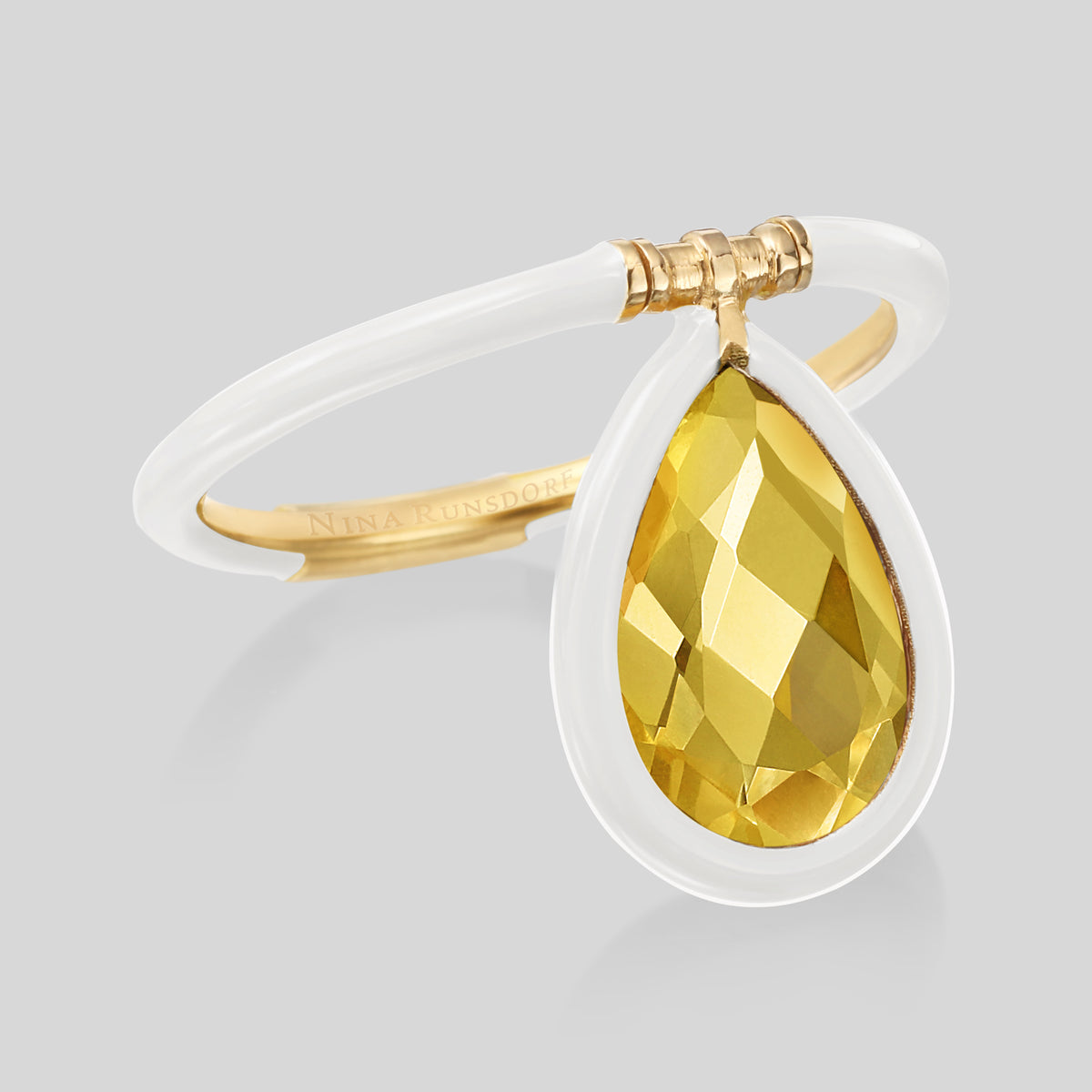 The Artist Medium Citrine White Enamel Flip Ring - Nina Runsdorf