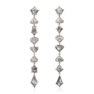 Organic Gray Diamond Mixshape Earrings