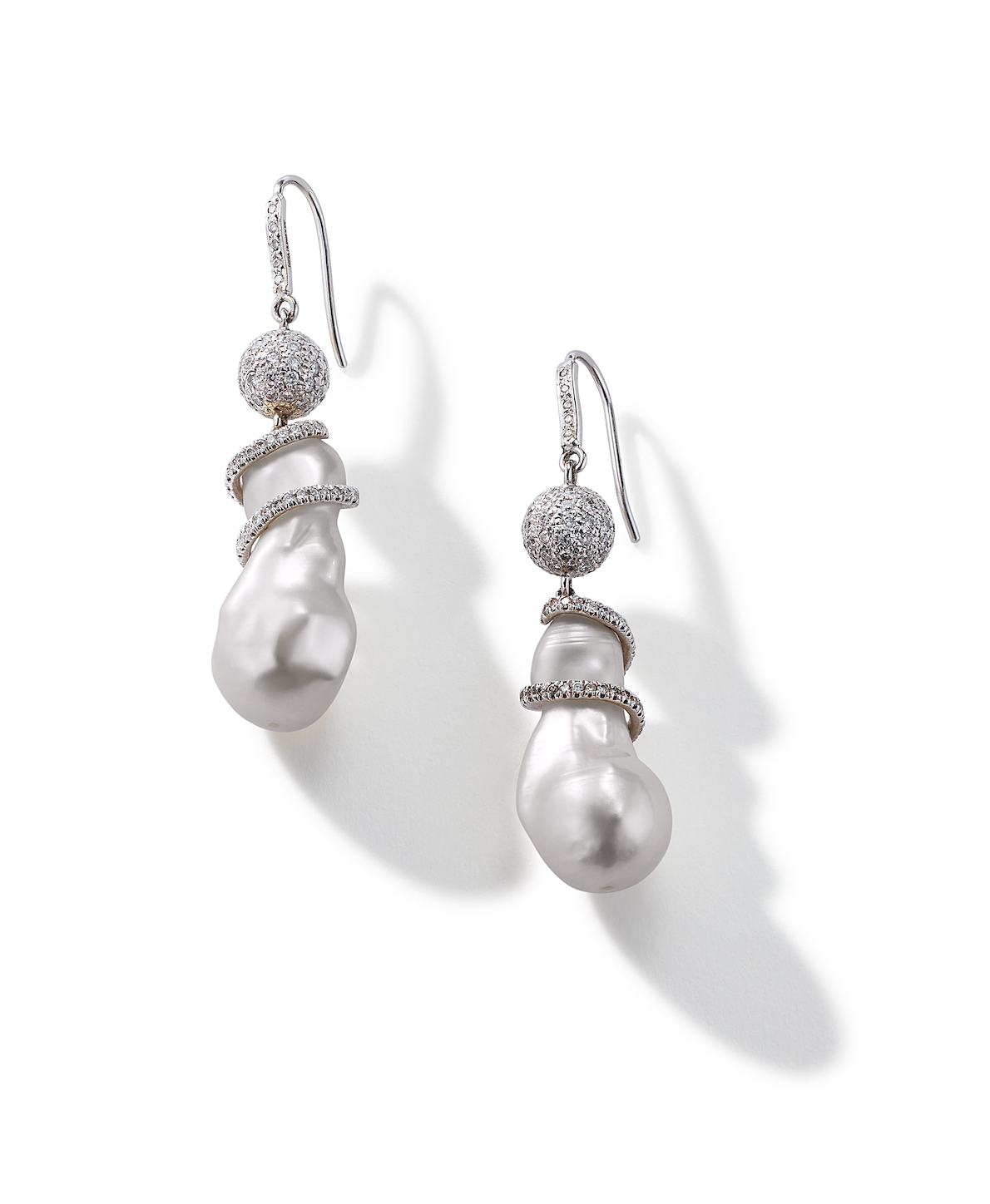 Baroque Pearl and Pavé Diamond Ball Earrings