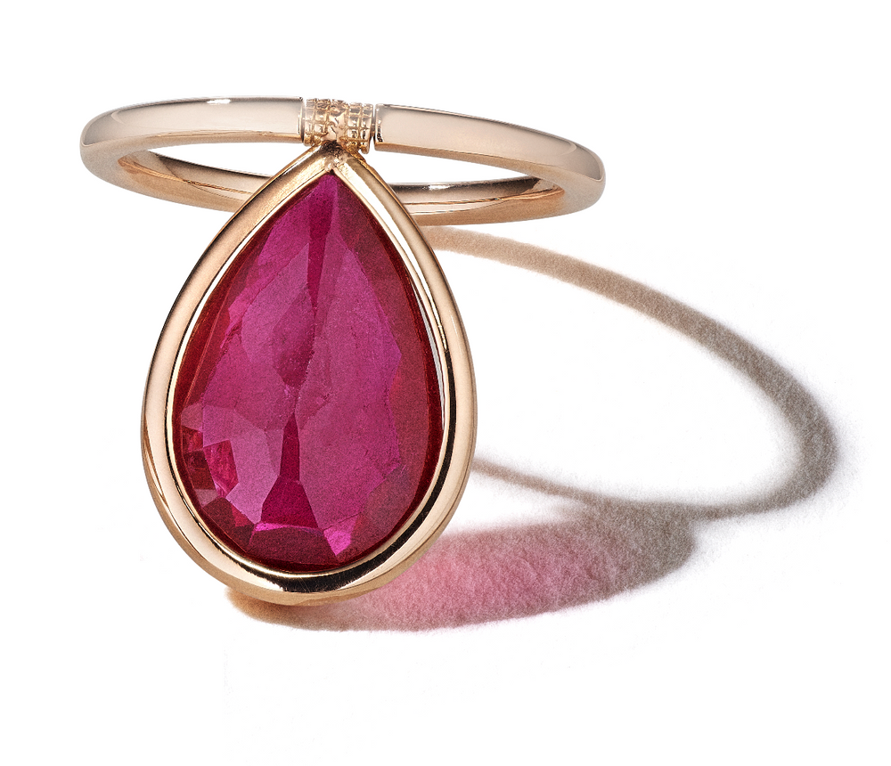 Pearshape Ruby Flip Ring