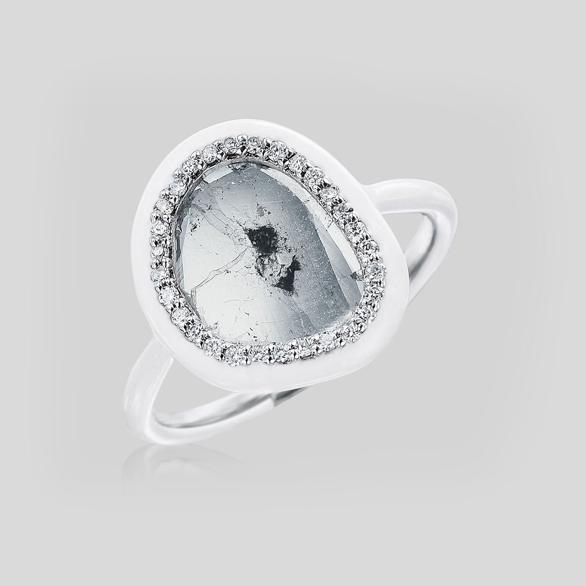 The Phoenix White Enamel Slice Diamond Ring