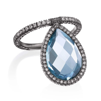 Large Light Blue Topaz Flip Ring - Nina Runsdorf