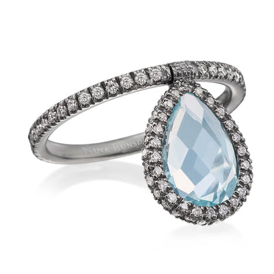 Medium Light Blue Topaz Flip Ring - Nina Runsdorf
