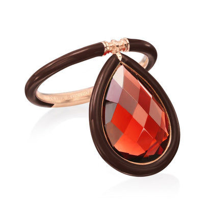 Large Enamel Flip Ring in Chocolate Brown