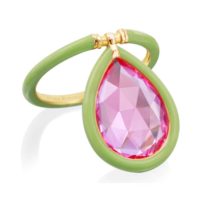 The Artist Medium Green Enamel Pink Topaz Flip Ring