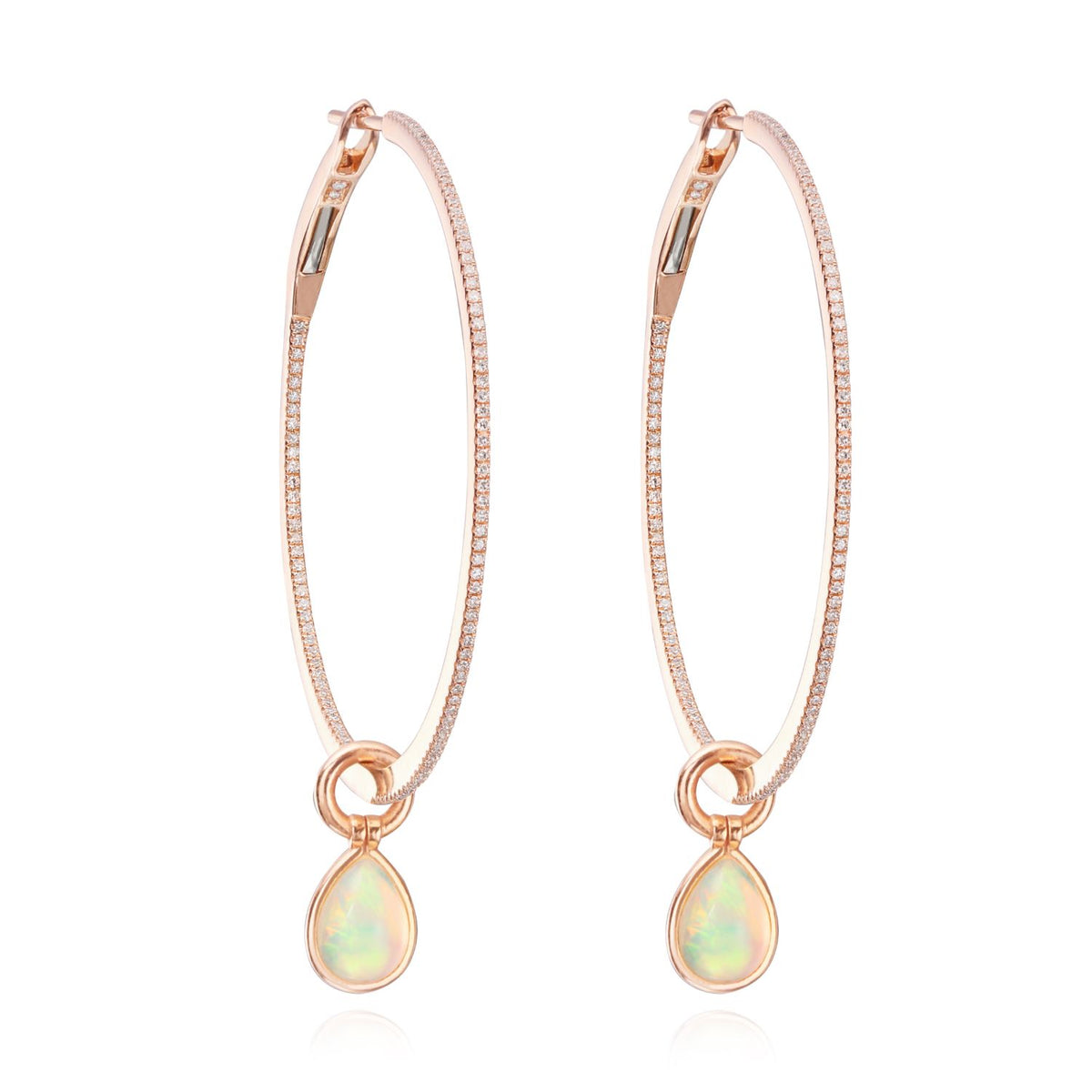 Medium Hoops with Opal Flip Charms - Nina Runsdorf