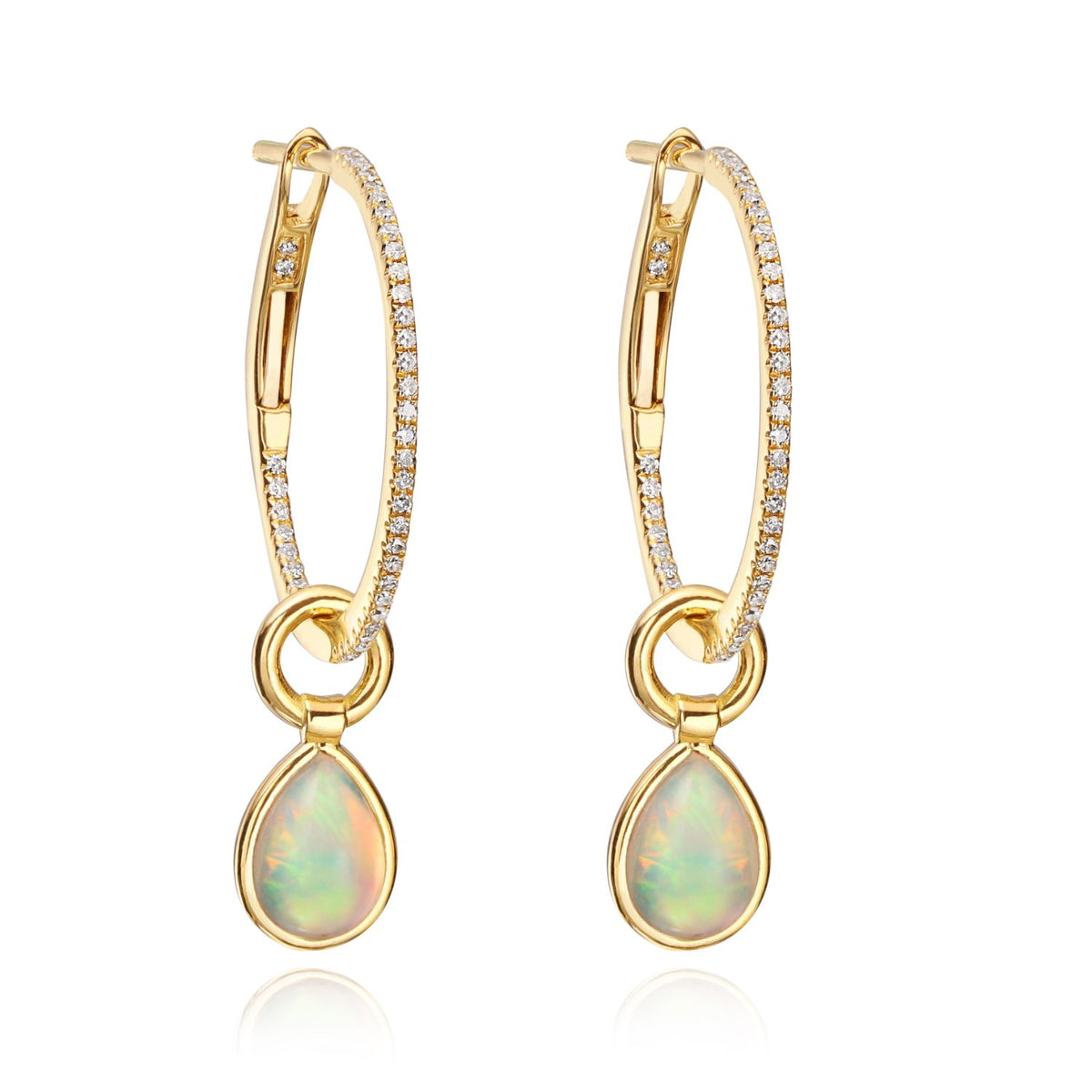 Mini Hoops with Opal Flip Charms