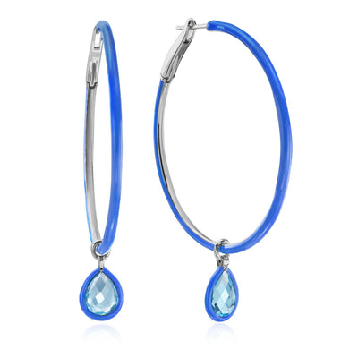 Medium Enamel Hoops in Blue