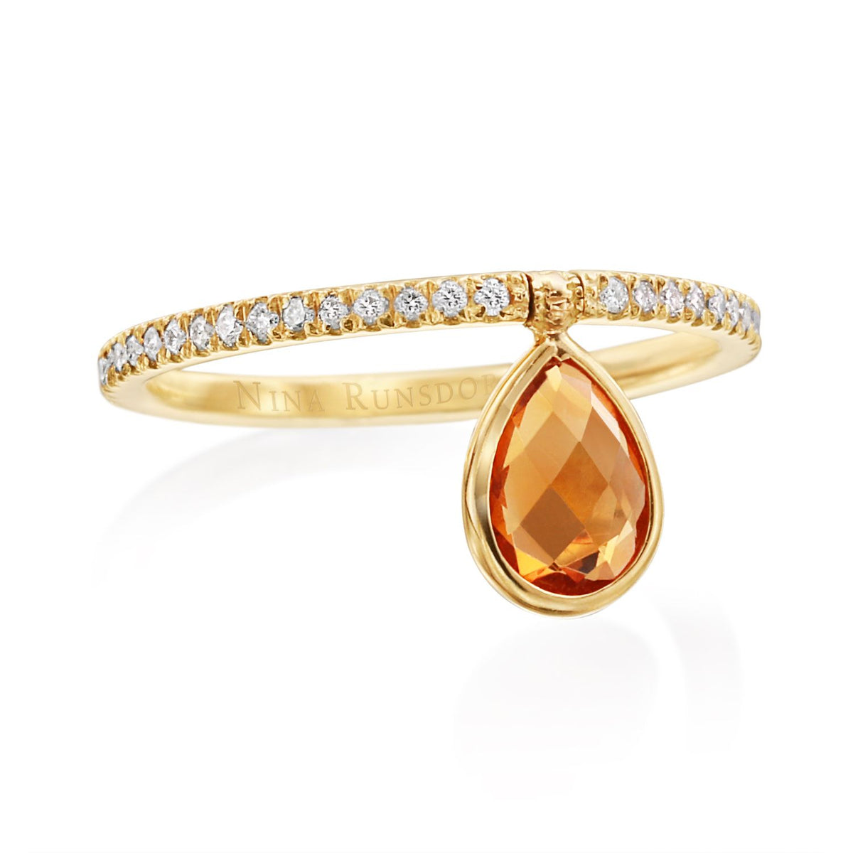 Mini Orange Garnet Flip Ring - Nina Runsdorf