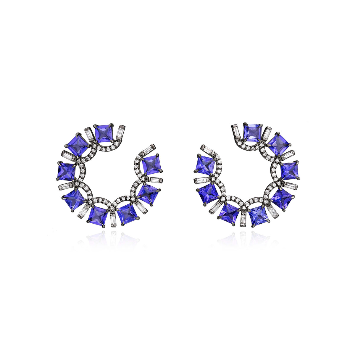 Tanzanite and Diamond Frontal Hoops