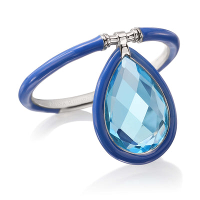 Medium Enamel Flip Ring in Blue