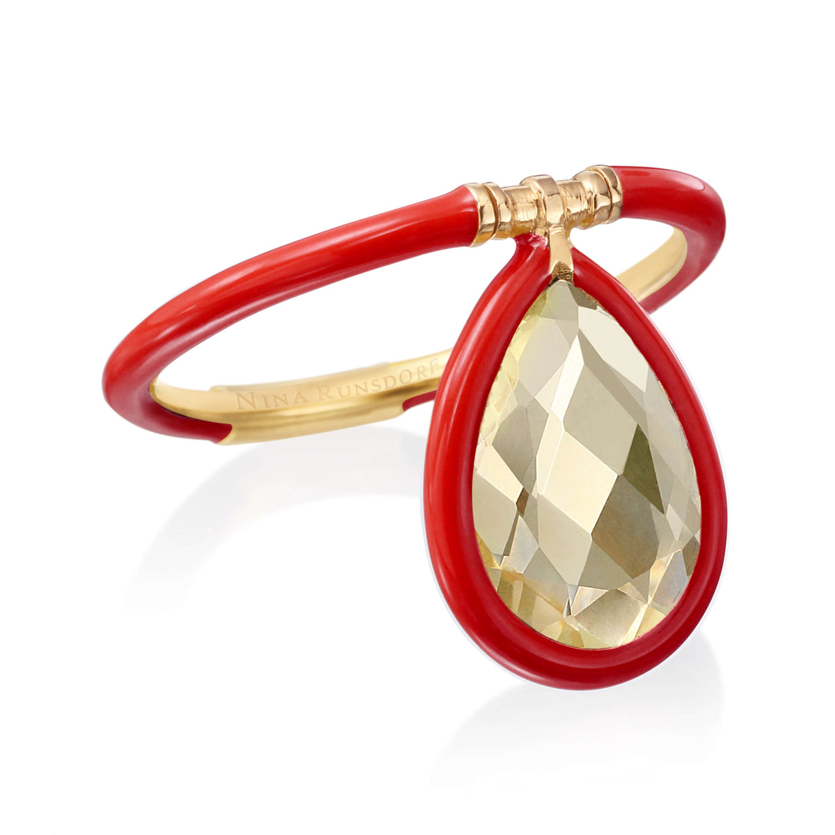 Medium Enamel Flip Ring in Red