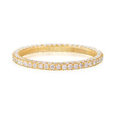 Three Row Diamond Pave Yellow Gold Eternity Band - Nina Runsdorf