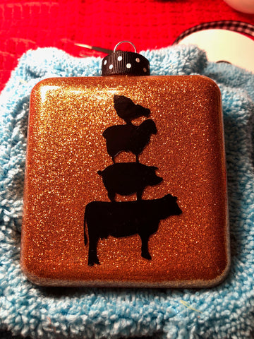 Stacked Barnyard Animals Square Ornament