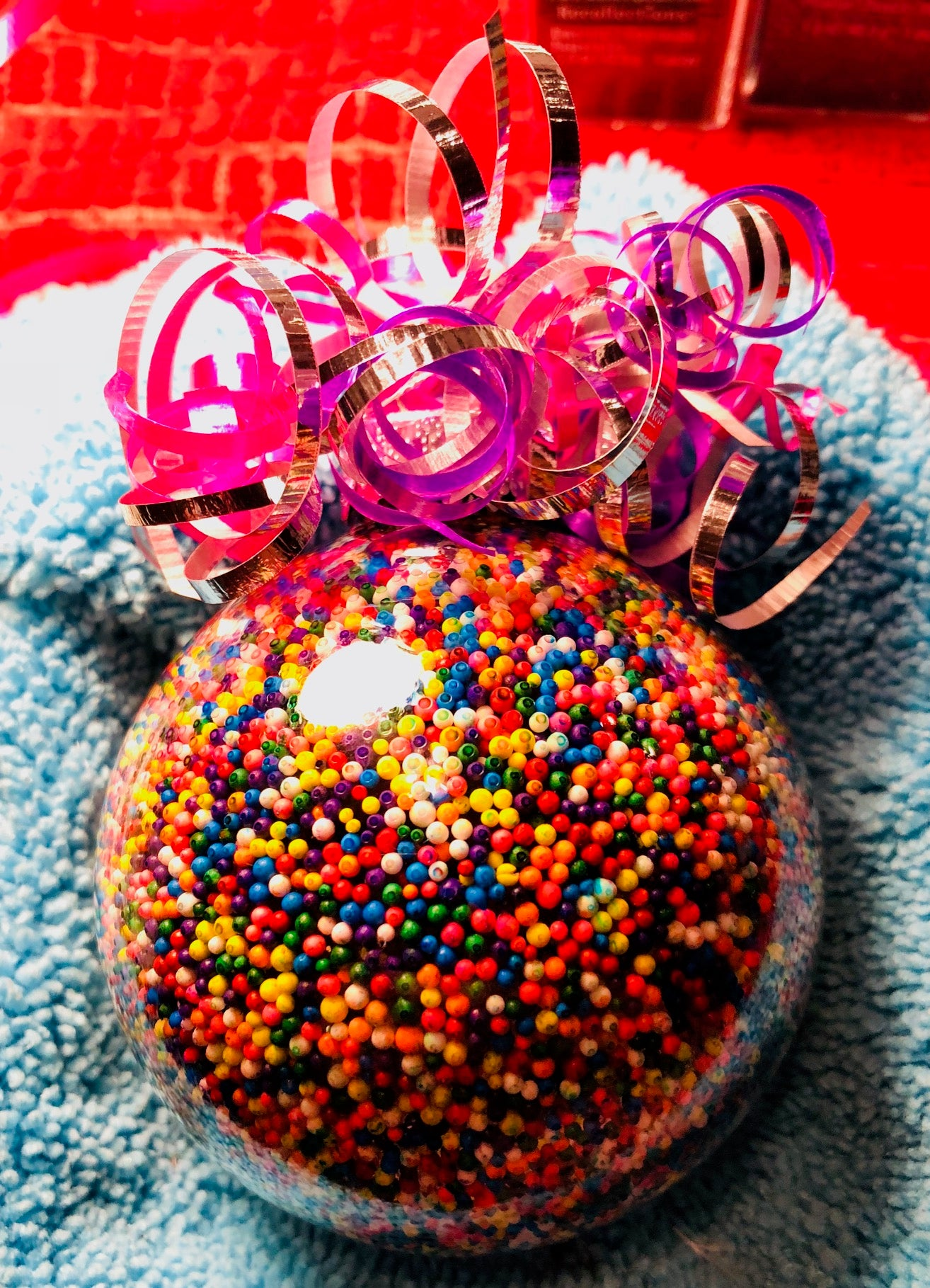 "Large Rainbow Sprinkles 4"" glass ornament"